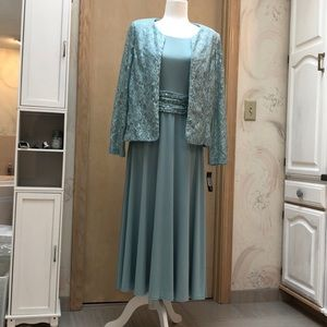 Two piece sequins sea foam dress
